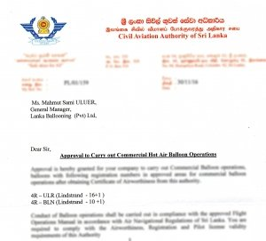 Sri Lanka Ballooning CAASL Balloon Operator License